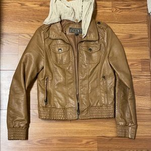 Brown jacket with removable hood